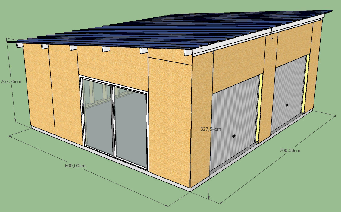 Construction d 39 un garage double en ossature bois for Construction garage double