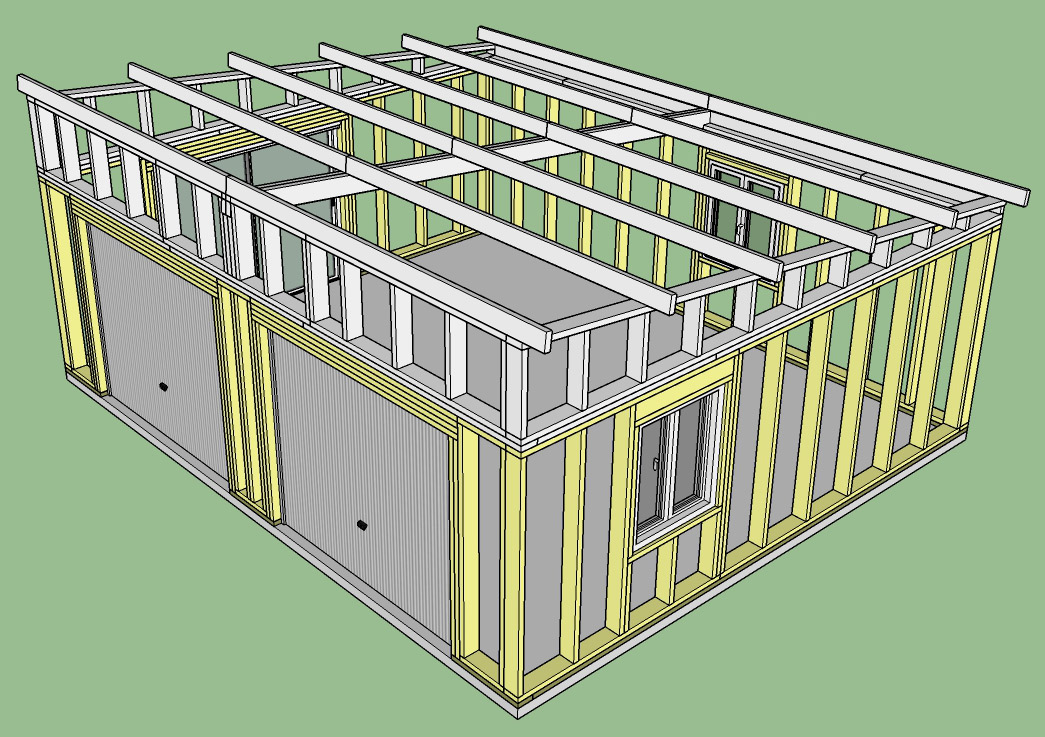 Construction d 39 un garage double en ossature bois for Plans et dessins de construction